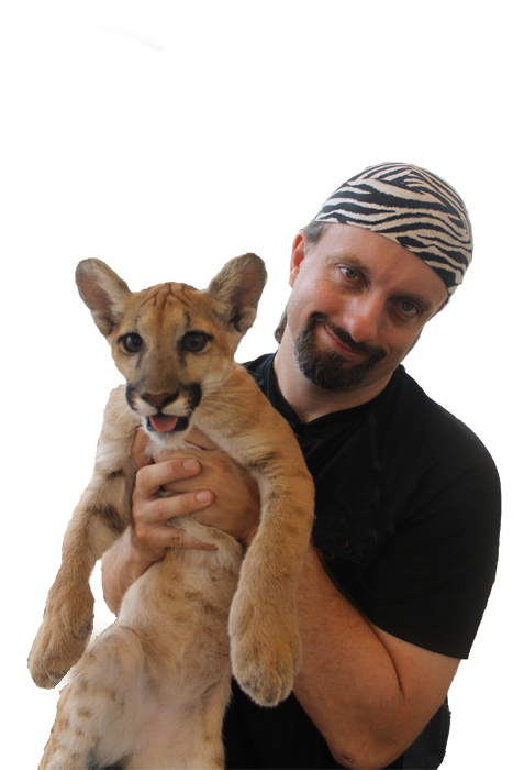 Chester Moore with baby cougar